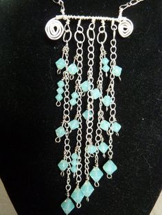 Waterfall Statement Necklace with Pacific Opal Swarovski Crystals on Etsy, $65.00