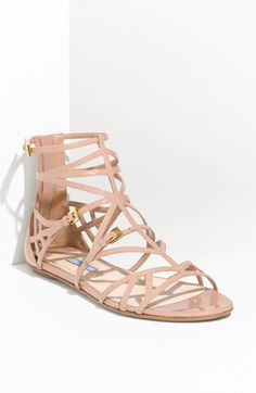 Prada Caged Patent Leather Sandal #nordstrom