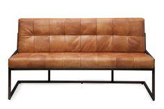 Stoere eetkamer bank. Buffel leer combinatie met staal. Maat 100 t/m 340 cm. Leverbaar in de kleuren Cognac, Donker bruin, Zwart en Black washed.