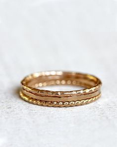 Gold stacking rings 14k gold stacking rings by PraxisJewelry