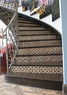 tan and black decorative tiled staircase #tile #CCC #stairs
