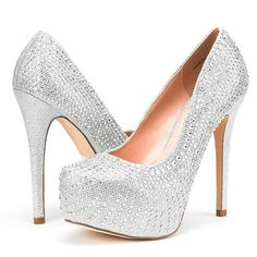 Amazon.com | DREAM PAIRS SWAN-30 New Women's Rhinestones Embellishment... ($35) ❤ liked on Polyvore featuring shoes, pumps, pointed toe pumps, pointed toe high heels shoes, pointy toe pumps, high heeled footwear and high heel platform pumps