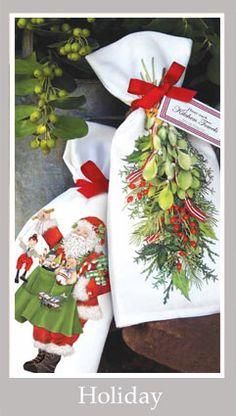 Christmas flour sack towels - Mary Lake Thompson design