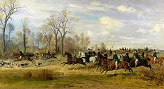 Sports Paintings - Emperor Franz Joseph I of Austria Hunting to Hounds with the Countess Larisch in Silesia  by Emil Adam