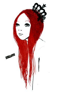 Love the color contrast!  Red Hair! and the pretty Red Queen crown.