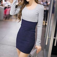 Yohana - Two-Tone Long-Sleeve Bodycon Dress