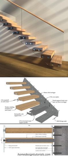 Learn how to design and build cantilevered stairs by understanding the design principles and physics behind the construction. Manufacturing files available for purchase #cantilevered #stairs #floating #staircase #structural #details Cantilever Stairs, Metal Stairs, Loft Stairs, Open Staircase, Floating Staircase, Staircase Design, Timber Cladding, Cladding Panels, Minecraft House Designs