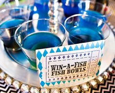 Bold & Eclectic Carnival Circus Birthday Party. I like the look of the decorations and these jello fish bowls!