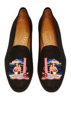 M'O Exclusive: Capri Slipper in Black Linen by Stubbs & Wootton for Preorder on Moda Operandi