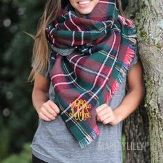 Make sure to get your #personalized Monogrammed #BlanketScarf today!| Marleylilly