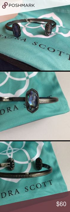 """NWT Kendra Scott bracelet Abalone and gunmetal, 3/4""""W x 3/8""""L, 1/4"""" band width, matching earrings and necklace listed separately, without the original jewelry bag Kendra Scott Jewelry Bracelets"""