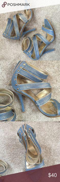 Denim strap zip heels Demon strap zip heels barely worn size 10. In great condition. Make me an offer! Michael Antonio Shoes Heels