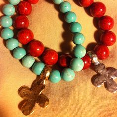 Turquoise and Red Coral Bracelets