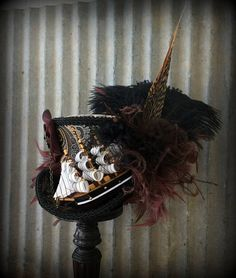 Pirate Ship Mini Top Hat Brown and Black Ship Mad hatter