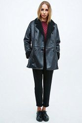 Cooperative Faux Shearling Pea Coat in Black Urban Outfitters