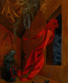 "animus-inviolabilis: "" La tejedora roja (The Red Weaver) Remedios Varo 1956 "" Illustrations, Illustration Art, Magic Realism, Guache, Arte Horror, Surreal Art, Dark Art, Les Oeuvres, Art History"