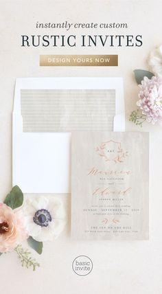 Rustic Wedding Invitations - Match Your Color & Style Free! Luxury Wedding Invitations, Rustic Invitations, Wedding Invitation Sets, Wedding Stationary, Invitation Design, Invite, Wedding Trends, Wedding Venues, Wedding Ideas