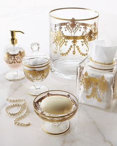 """Louvre"" Vanity Accessories at Neiman Marcus #PowderRoom #Inspiration"