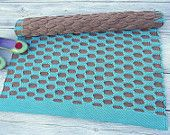 Turquoise and brown small size handmade cotton rug woven on the loom