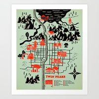 Trademark Fine Art 'Welcome To Twin Peaks' Canvas Art by Robert Farkas, White Matte, Silver Frame, Green Artist Canvas, Canvas Art, Canvas Prints, Canvas Size, Framed Maps, Framed Art Prints, Twin Peaks, Map Art, Art Reproductions