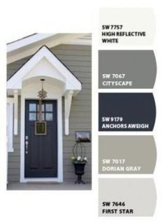 Pintar cores do ColorSnap por Sherwin-Williams - Haus - Fachadas Exterior Paint Colors For House, Paint Colors For Home, Siding Colors For Houses, Exterior Paint Ideas, Gray Exterior Houses, Grey Siding House, Cottage Exterior Colors, Vinyl Siding Colors, Vinyl House Siding
