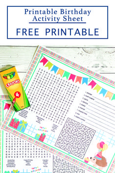 Print this fun F*R*E*E printable Birthday Activity Sheet from Everyday Party Magazine and pass them out at a party or during a birthday parade #QuaratineCelebrations #BirthdayParade #PartyPrintables