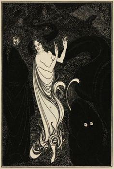 BEARDSLEY, Aubrey (1872-1898). Lady Dancing with Figure looking on.  255 x 190 mm.  An original magazine illustration designed by Aubrey Beardsley, c.1896.