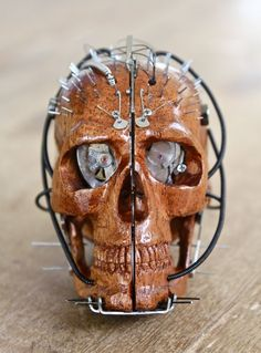 Wooden Steampunk Skull by Inksition on Etsy, $159.00
