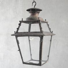 Large 19th c. French Copper Carriage Way Lantern   OVERALL: ± 32H x 16.75W x 16.75D - http://www.linenandlavender.net/p/lighting-new-antique-one-of-kind.html