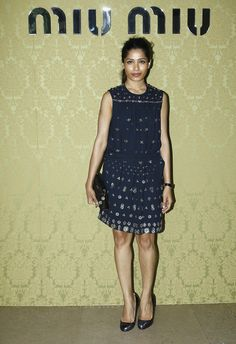 Freida Pinto at the Miu Miu Resort show.