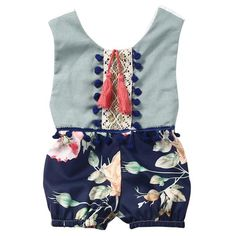 """Add """"Keiki"""" to your little girl's Spring or Summer Fashion.Sizes available in newborn to 3T.Model Number: Baby RomperMaterial: CottonGender: Baby GirlsSleeve Le"""