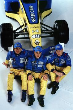 2002 Renault F1 Launch Jarno Trulli, Fernando Alonso and Jenson Button Paris, France. 27th January 2002. Launch of the Mild Seven Renault F1 R202.