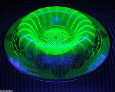 MIND BLOWING Big VASELINE URANIUM Bowl or Base MARKED STERLING Sublime OLD Glass #OldVaselineGlass