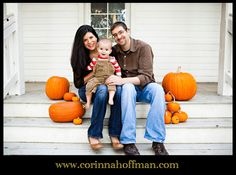 Family picture with pumpkins for Thanksgiving. www.corinnahoffman.com