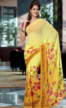 Bollywood Printed Georgrtte #Saree by #craftshopsindia