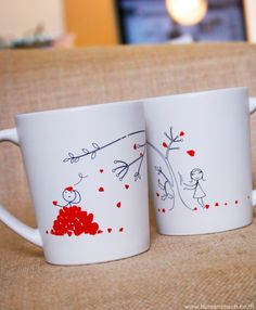 The Law of Gravity couple mugs by Human Touch
