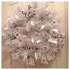 Winter Silver and White Deco Mesh Wreath/ Wedding Wreath/Silver Wreath/White Wreath/Wedding Deco Mesh Wreath