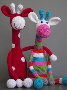 Crocheted giraffes.