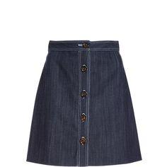 Adam Lippes Stretch Denim Twill Mini Skirt (€490) ❤ liked on Polyvore  featuring