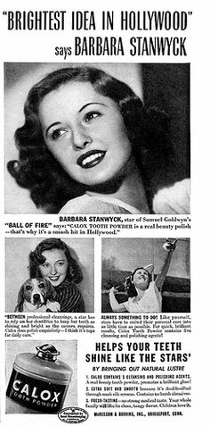 """Barbara Stanwyck for Calox Tooth Powder with Barbara Stanwyck in the April 1942 Screenland Magazine and she promoting her new movie """"Ball of Fire"""""""