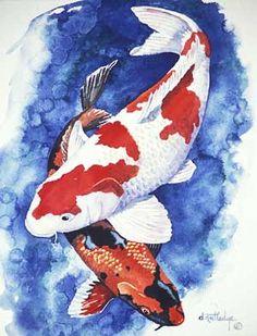 Interior design watercolor resource, Dan Rutledge watercolor painter of Koi fish.