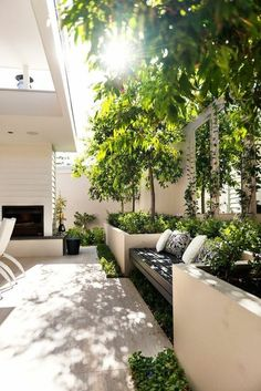 110 Garden design ideas in city style, how to transform the outdoor area - garden design garden bench plants throw pillows garden furniture - Small Courtyard Gardens, Small Courtyards, Outdoor Gardens, Courtyard Ideas, Raised Gardens, Modern Gardens, Garden Modern, Modern Patio, Outdoor Planters
