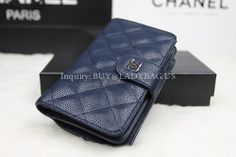 387aed640795c1 Chanel A48667 Wallet in Sapphire Blue Quilted Caviar Calfskin with Exterior Zipped  Pocket Code:A48667