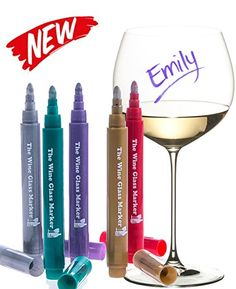 The Original Wine Glass Markers  Set of 5 Wine Markers  Lifetime Replacement Warranty Vibrant Colors  Wine Glass Charms  Fun Wine Accessories  Write on any glassware  Easy Erasable * Continue @