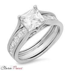 jewelry: 3.55 CT Princess Cut Engagement Bridal Ring band set Solid 14k White Gold  #Jewelry - 3.55 CT Princess Cut Engagement Bridal Ring band set Solid 14k White Gold ...
