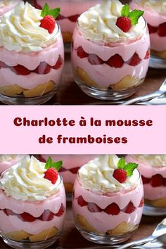 Raspberry mousse charlotte - Easy, spectacular and delicious, This light dessert will conclude a good meal and will delight ever - Turtle Cheesecake Recipes, Baked Cheesecake Recipe, Easy No Bake Cheesecake, Italian Cookie Recipes, Best Dessert Recipes, Fun Desserts, Mousse Dessert, Torrone Recipe, New Years Eve Dessert