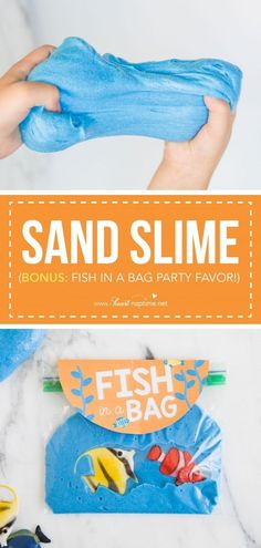 Easy Sand Slime - The perfect summer activity that will keep your kids entertained for hours! So fun and simple to make. You can even turn this sand slime recipe into a unique party favor with my FREE 'fish in a bag' printable! Unique Party Favors, Kid Party Favors, Sand Slime, Sand Bag, Fish In A Bag, Colored Sand, Sand Crafts, Slime Recipe, Kids Bags