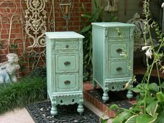 2 NIGHTSTANDS Restored Pair of Antique Nightstands Perfect green painted furniture #ad