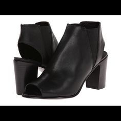 Steve Madden Nobel boots Black booties from Steve Madden. Stretchy sides so it's easy to get on and off. Very lightly worn. Peep toe and a heel cutout. Steve Madden Shoes Ankle Boots & Booties