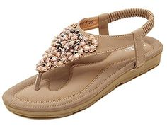 Maybest Womenss Summer Flower Rhinestone TStrap Slingback Thong Sandals Bohemian Flip Flops  Apricot 5 B M US  * Click image to review more details.(This is an Amazon affiliate link and I receive a commission for the sales)